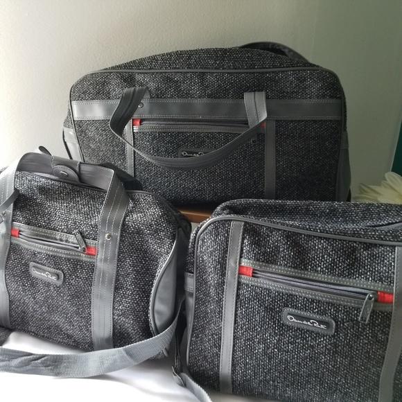 Oscar de la Renta Other - Oscar De La Renta 3pcs luggage gray Tweed
